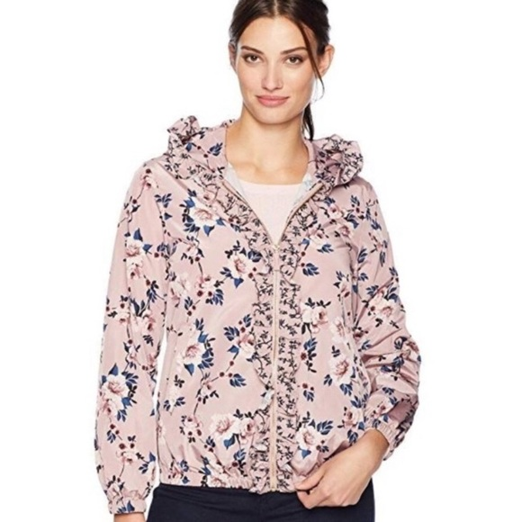 Kate Spade Pink Prairie Rose Ruffle Anorak Jacket